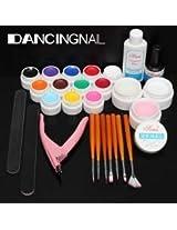 DANCINGNAIL 12 Pure Color UV Gel Acrylic Builder Nail Brush File Kit Top Coat Plier Set