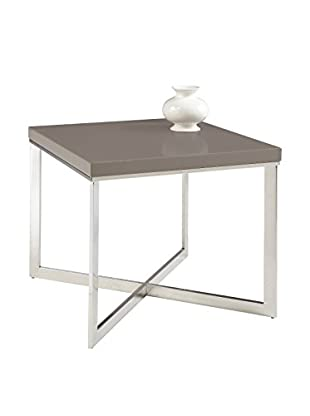 Sunpan Pilot Square End Table, High Gloss Dove Grey