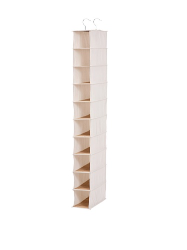 Honey-Can-Do Hanging Shoe Organizer, Bamboo/Canvas, 10-Shelf