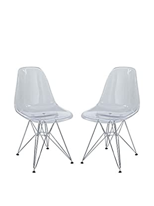 Modway Set of 2 Paris Dining Side Chairs, Clear