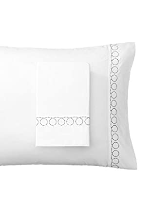 Mélange Home Egyptian Cotton Loops Embroidered Standard Pillowcases, Charcoal Grey
