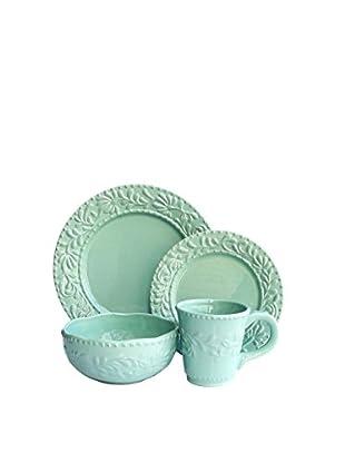 American Atelier 16-Piece Jade Green Bianca Leaf Dinnerware Set