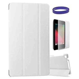 DMG Premium Tri Fold Smart Flip Book Stand Cover Case for Google Nexus 7 2013 Tab with Matte Screen Protector + DMG Wristband-White