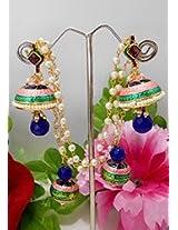 Appealing Blue N Pink Meenakari Jhumkas
