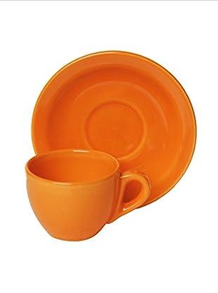 Set, 4 Kaffeetassen mit Untertassen orange