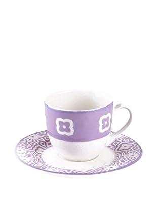 Tognana  Kaffeetasse mit Untertasse 6er Set Ambra Panarea lila/weiß