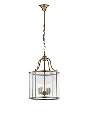 Safavieh Sutton Place Medium 4-Light Pendant, Clear/Brass