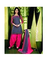 115412_Excellent Resham Embroidered Grey and Pink Patiala Suit