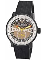 Gv2 By Gevril Powerball Black Rubber Sub-Second Big Date Mens Watch 4041R