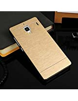 GVC Luxury Brushed Metal Motomo Back Case Cover for Xiaomi Redmi 1s - Compaign Gold