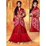 Red Silk Dress Material With Dupatta