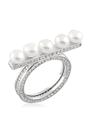 Splendid Micropave Fancy Silver and Pearl Ring