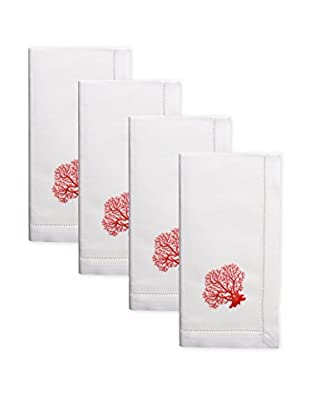 Henry Handwork Set of 4 Red Coral Embroidered Napkins, White