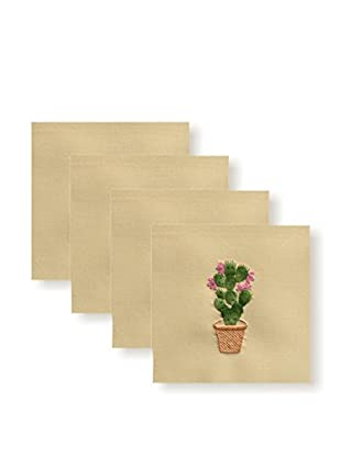 Henry Handwork Set of 4 Prickly Pear Embroidered Napkins, Natural