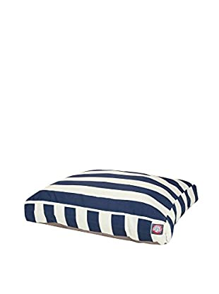 Vertical Stripe Small Rectangle Pet Bed, Navy Blue