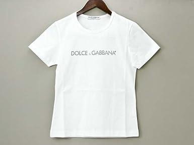 ドルチェ&ガッバーナ レディース 半袖 コットンTシャツ D4240 BIANCO ホワイト ロゴ入り