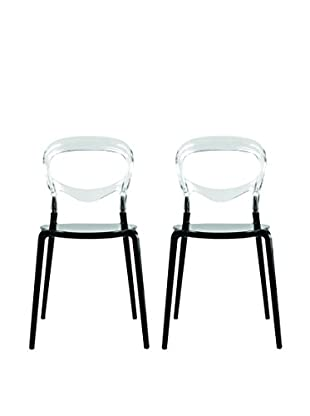 Manhattan Living Set of 2 Evo Acrylic Dining nSide Chairs, Transparent