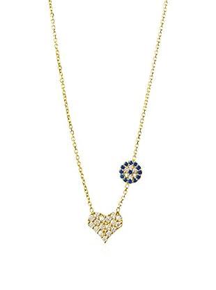 Dolce Vetra Pavé Disc & Pavé Heart Asymmetrical Necklace