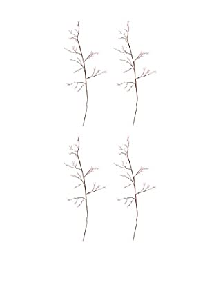 Set Of 4 Movable Bejeweled Twigs, Light Pink/Brown