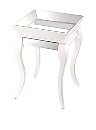 Artistic Bent Glass Side Table, Gloss White/Silver