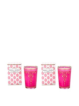 Market Street Candles Set of 2 Rose Scented Moroccan Henna Candles, Pink