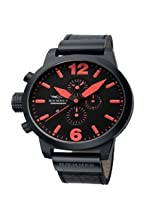 Haemmer Men's HC-08 Giants Black PVD Chrono Leather Watch