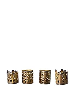 Uptown Down Set of 4 Tea Light Holders, Gold