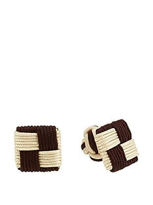 Ortiz & Reed Manschettenknopf Brown Elastic Cufflinks