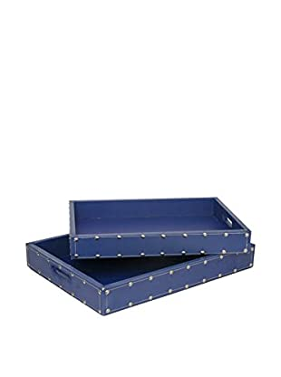 Three Hands Set of 2 Studded Wood Trays, Blue