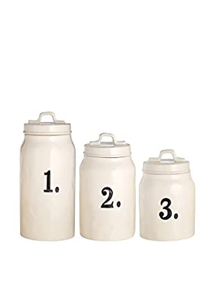 Rae Dunn by Magenta Set Of 3 Numbered Canisters, White