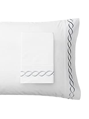 Mélange Home Rope Embroidered Egyptian Cotton Standard Pillowcase, Grey, Standard
