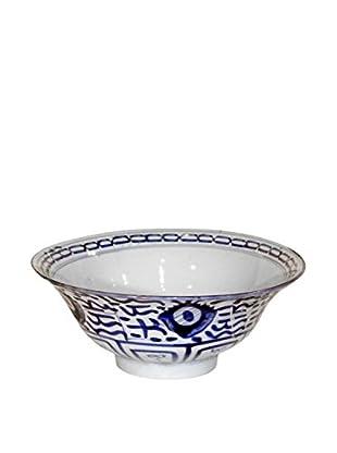 Asian Loft Vintage Mid 20th Century Hand-Painted Ceramic Bowl, White/Blue
