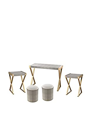 Artistic Sands Point Luxe Shagreen 5-Piece Furniture Set, Gold/Grey