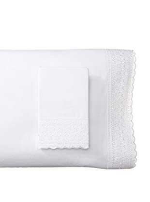 Westport Linens Set of 2 Emma Embroidered Standard Pillowcases, White
