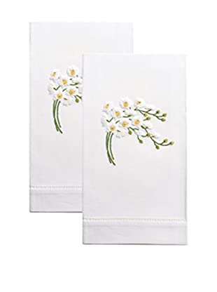 Henry Handwork Set of 2 White Orchid Spray Embroidered Hand Towels, White