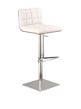 Armen Living Oslo Adjustable Brushed Stainless Steel Barstool with Walnut Back, White