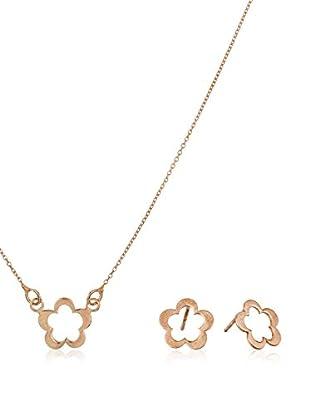 Córdoba Jewels Conjunto de pulsera y pendientes plata de ley 925 milésimas bañada en oro