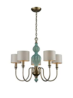 Artistic Lighting Lilliana 5-Light Chandelier, Seafoam/Aged Silver