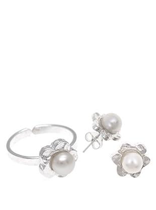 Silver One Conjunto Anillo Y Pendientes Flor Martelé