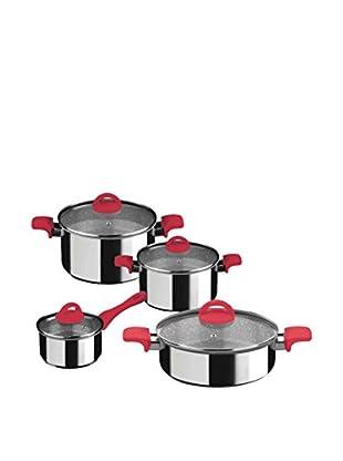 Mepra Fantasia Pietra 8-Piece Non-Stick Cookware Set, Red