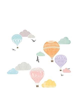 Ambiance Sticker Wandtattoo Montgolfier And Clouds
