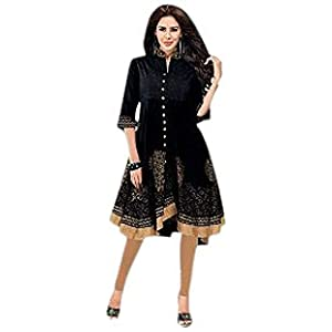 ISHIN Jaquard Cotton Black kurti_XL