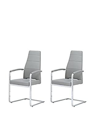 Whiteline Ville Set of 2 Dining Armchairs, Gray