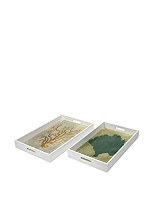 Set of 2 Sea Fan Wood And Glass Trays