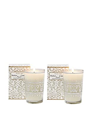 Market Street Candles Set of 2 Honeysuckle Scented Moroccan Lace Candles, Silver
