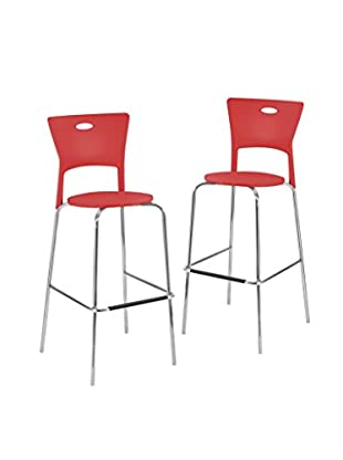 LumiSource Set of 2 Mimi Bar Stools, Red