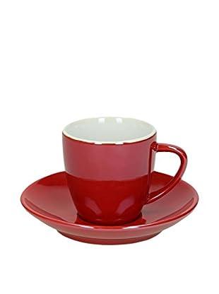 Tognana  Teetasse mit Unterteller 6er Set Colortek rot