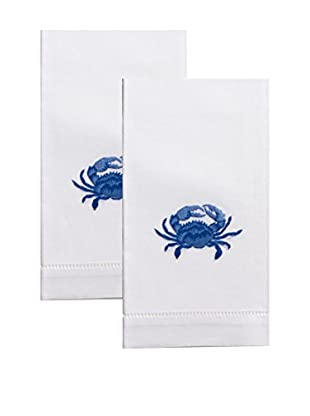 Henry Handwork Set of 2 Indigo Crab Embroidered Hand Towels, White