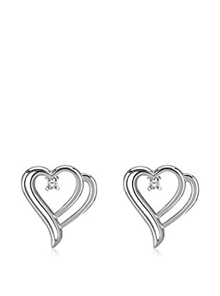 Divas Diamond Pendientes Diamond Heart plata de ley 925 milésimas