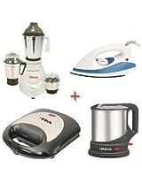 Nova Mixer Grinder N120 Nano, Dry Iron N107, Toaster N143 & Kettle N166